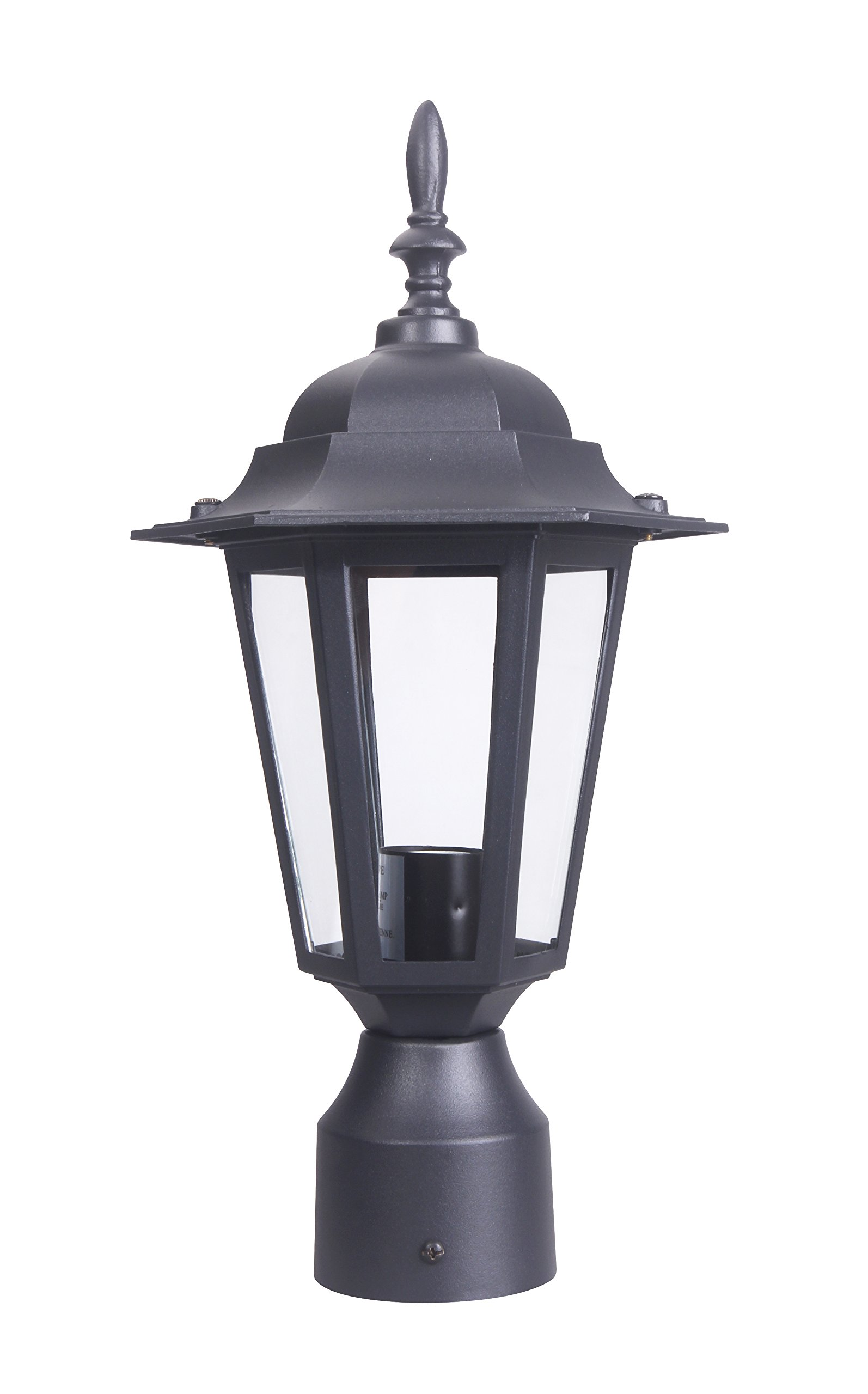 LIT-PaTH Outdoor Post Light Pole Lantern Lighting Fixture with One E26 Base Max 60W, Aluminum Housing Plus Glass, Matte Black Finish