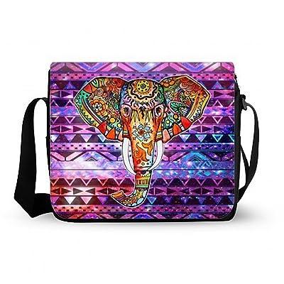 Aztec Tribal Elephant Decorative Messenger Bag,Shoulder Bag Oxford Fabric