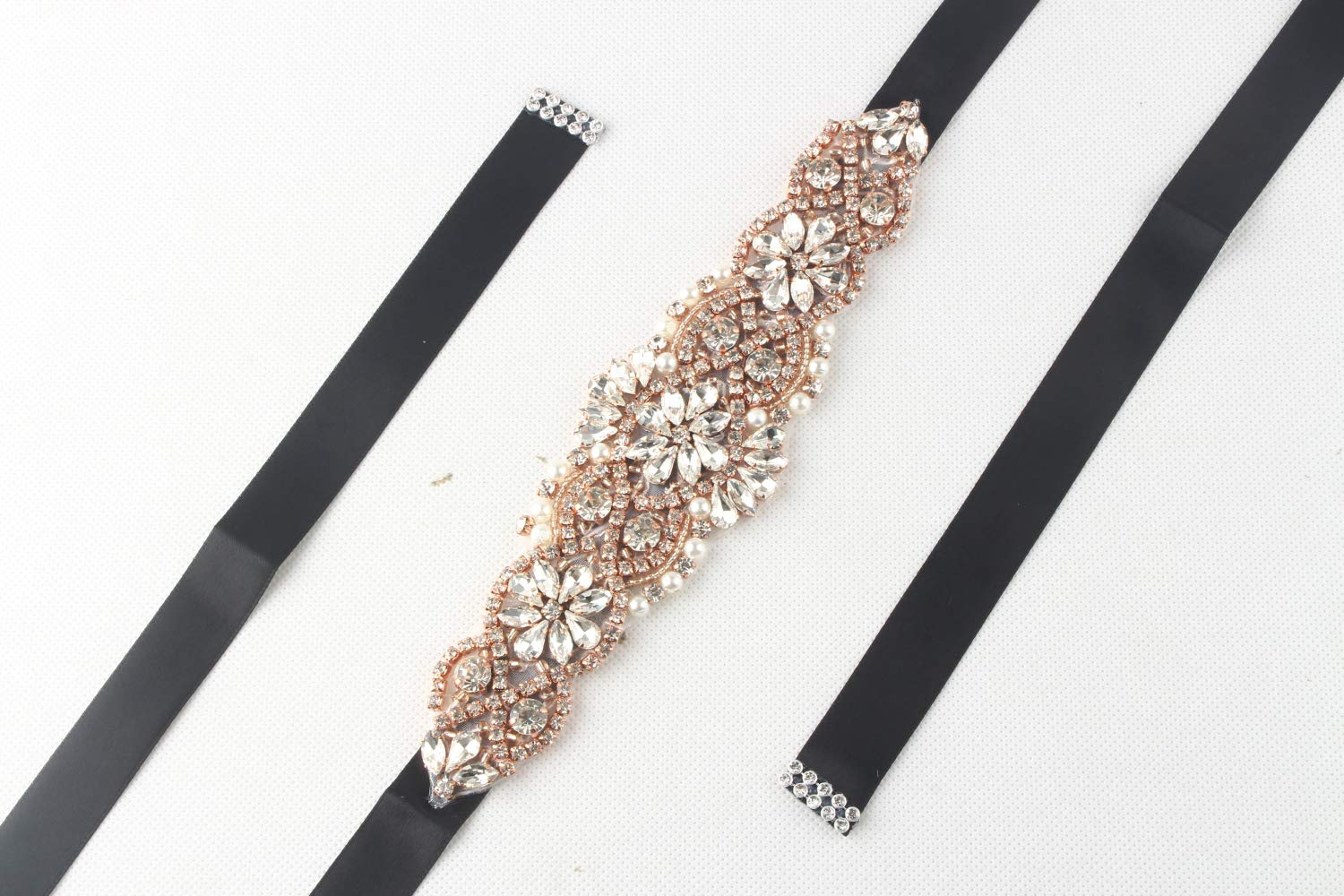WILTEEXS Handmade Bridal Belt Wedding Belts Sashes Rhinestone Crystal Beads Belt For Bridal Gowns (Rose Gold-black)