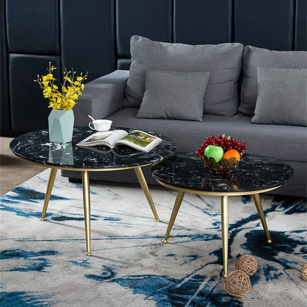 Koop Goedkoop ZRRtables zwart marmer salontafel, moderne salontafel theetafel 2 kleine bijzettafels sofa bijzettafel cocktailtafel voor woonkamer (cirkels) B w9ZjMkS
