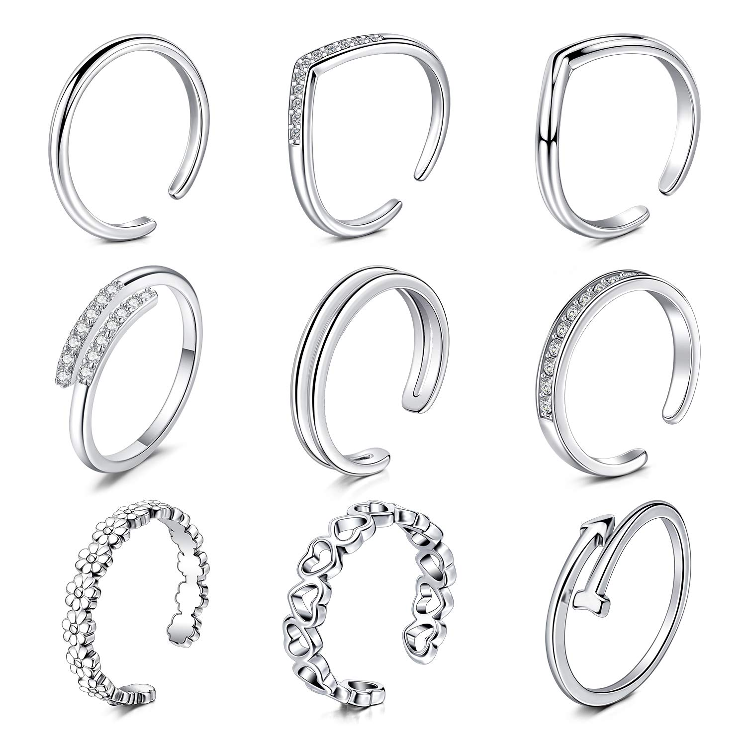 QWALIT 9pcs Toe Rings Silver for Women Girls Rose Gold Open Adjustable Tail Ring Band Flower Knot Simple Fingers Joint Knuckle Hoop Ring Wave Foot Jewelry for Sandals