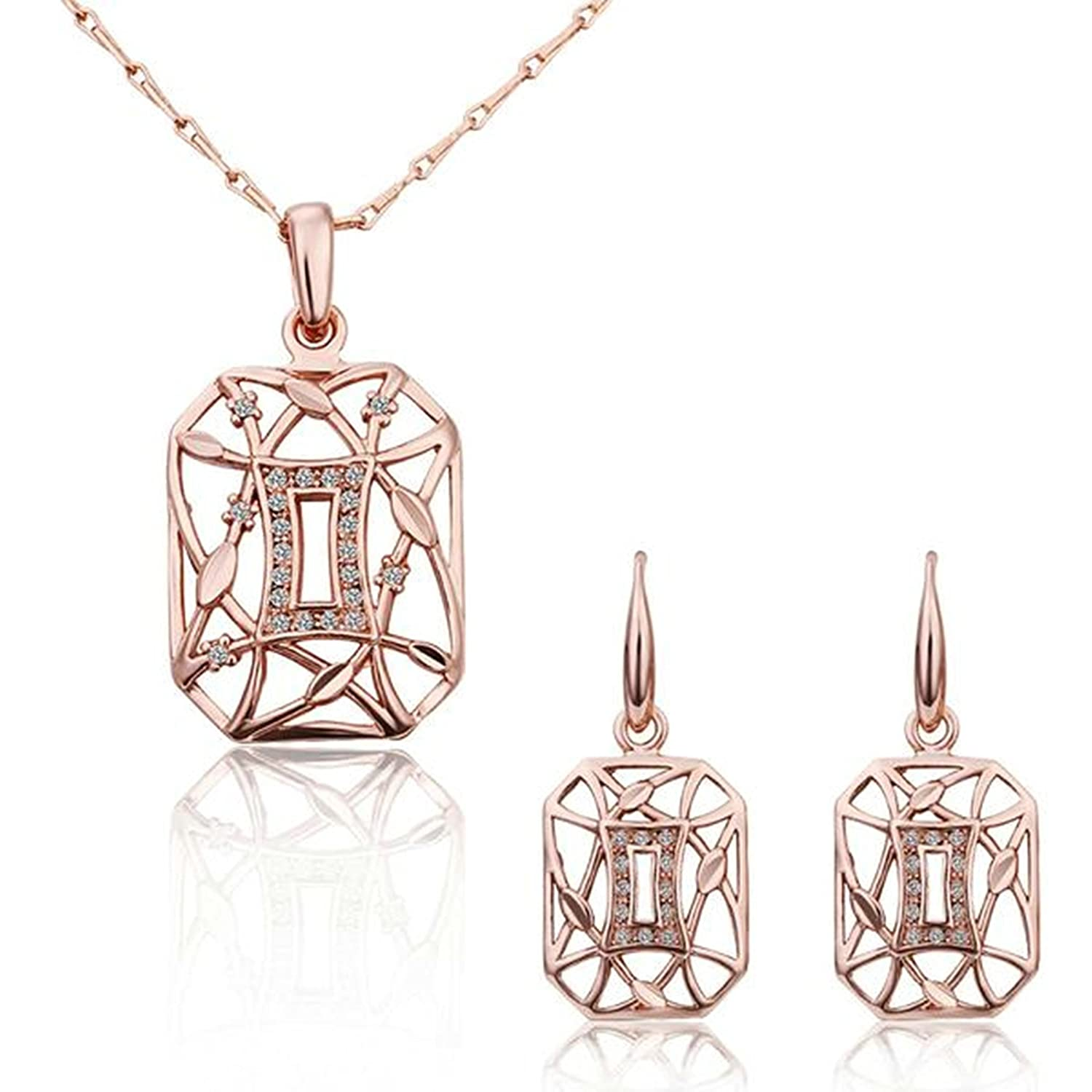 Gnzoe Fashion Jewelry Gold Plated Women Earrings Necklace Rose Crystal Inlaid CZ Jewelry Set