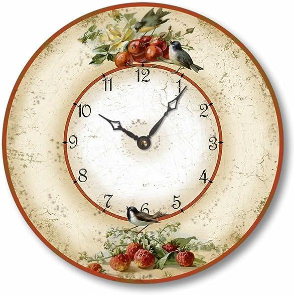 Fairy Freckles Studios Item C2042 Vintage Style 10.5 Inch Birds Cherries Strawberries Clock