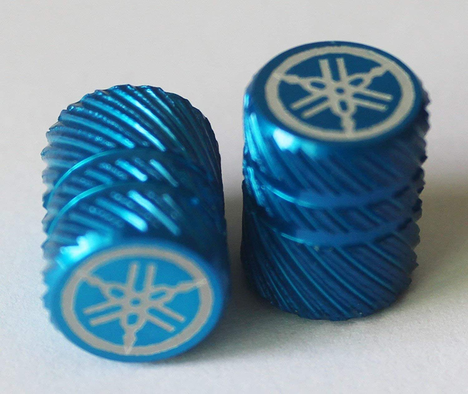 Car ATV Set of 2 GENUINE Yamaha Tuning Fork Half Knurl Finish BLUE Tyre Tire Valve Caps Dust Caps Protectors for Motorcycles Bicycles Van .