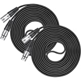 Neewer 2 Packs Microphone Audio Cable XLR 3-Pin Male to Female Cable 49.9 feet/15.2 meters for LED Stage Lights,Preamplifiers, Microphones and Speaker Systems with 3 Pin XLR Connectors