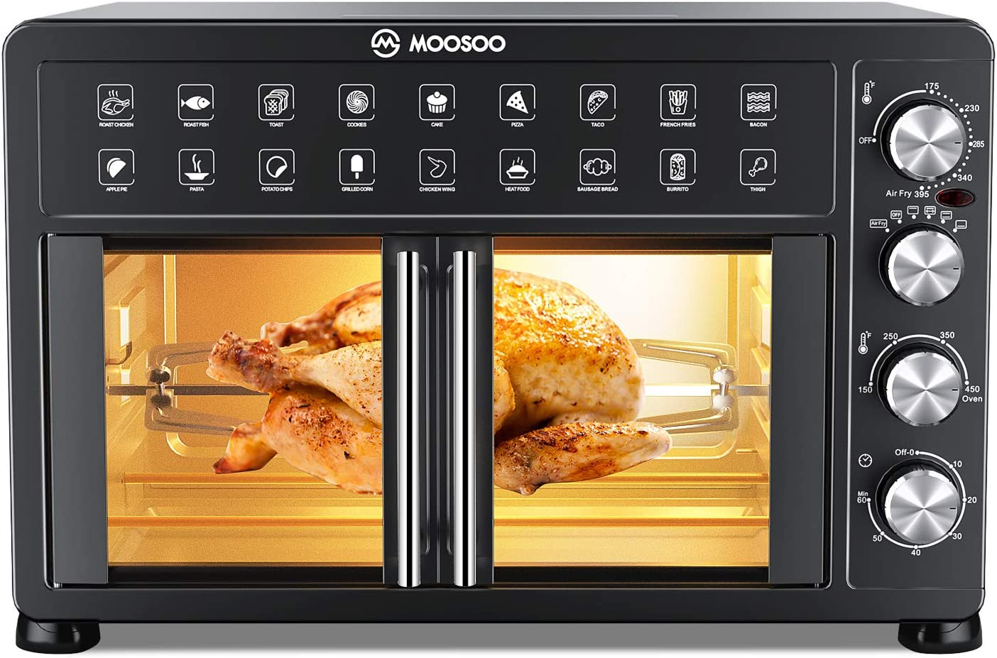 MOOSOO Large Air Fryer Oven, 30QT Toaster Convection Oven Countertop French Door, Toaster Oven Air Fryer Combo with Bake, Broil, Roast, Less oil, Rotisserie Oven Time/Temp Dial, 6 Accessories,Cookbook