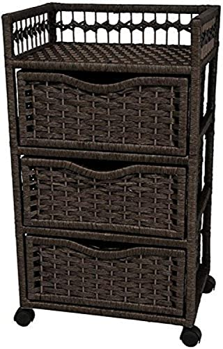 Oriental Furniture 31 Natural Fiber Chest of Drawers on Wheels – Black