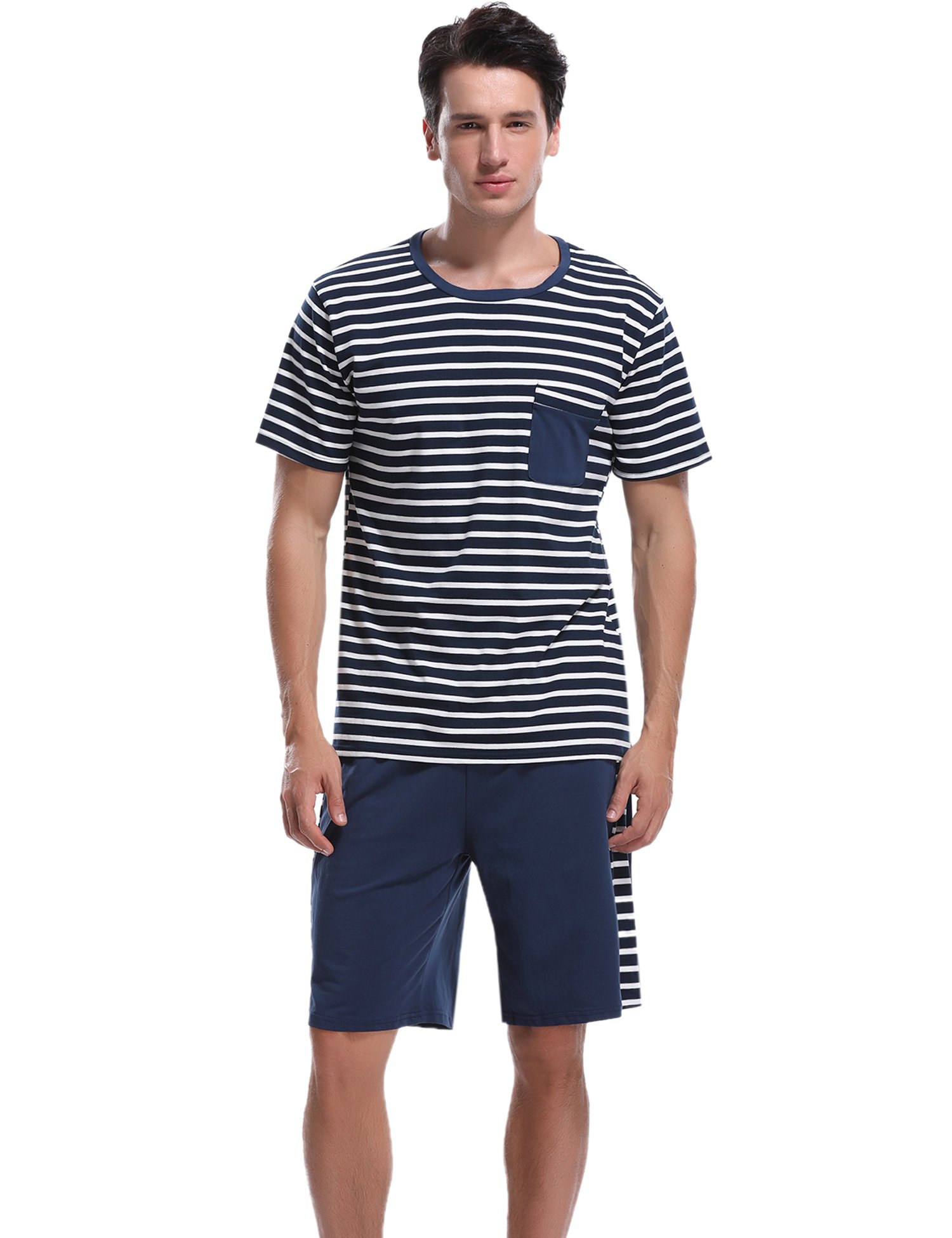 Aibrou Men's Summer Sleepwear Short Sleeve Striped Cotton Shorts and Top Pajama Set by Aibrou