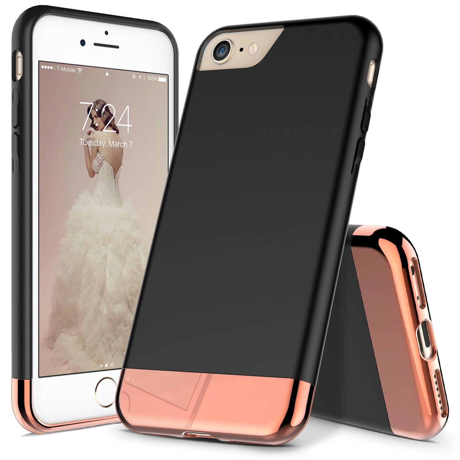 new product 6fac8 ca3ba iPhone 7 Case, iPhone 8 Case, RANZ Black with Rose Gold Protective Slider  Style Scratch Proof Hard Cover for Apple iPhone 7 / iPhone 8
