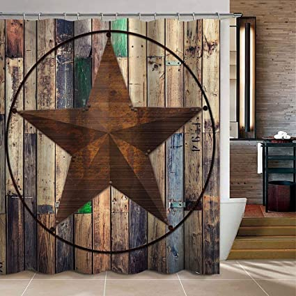 Uphome Barn Star Fabric Shower Curtain Western Texas On Rustic Brown Wooden Grain Polyester