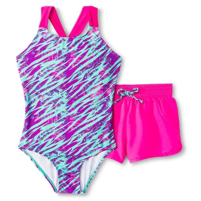 b9522d13bb113 Circo Girl's One Piece Swimsuit With Swimming Shorts, Zebra Stripe (X-Small  (