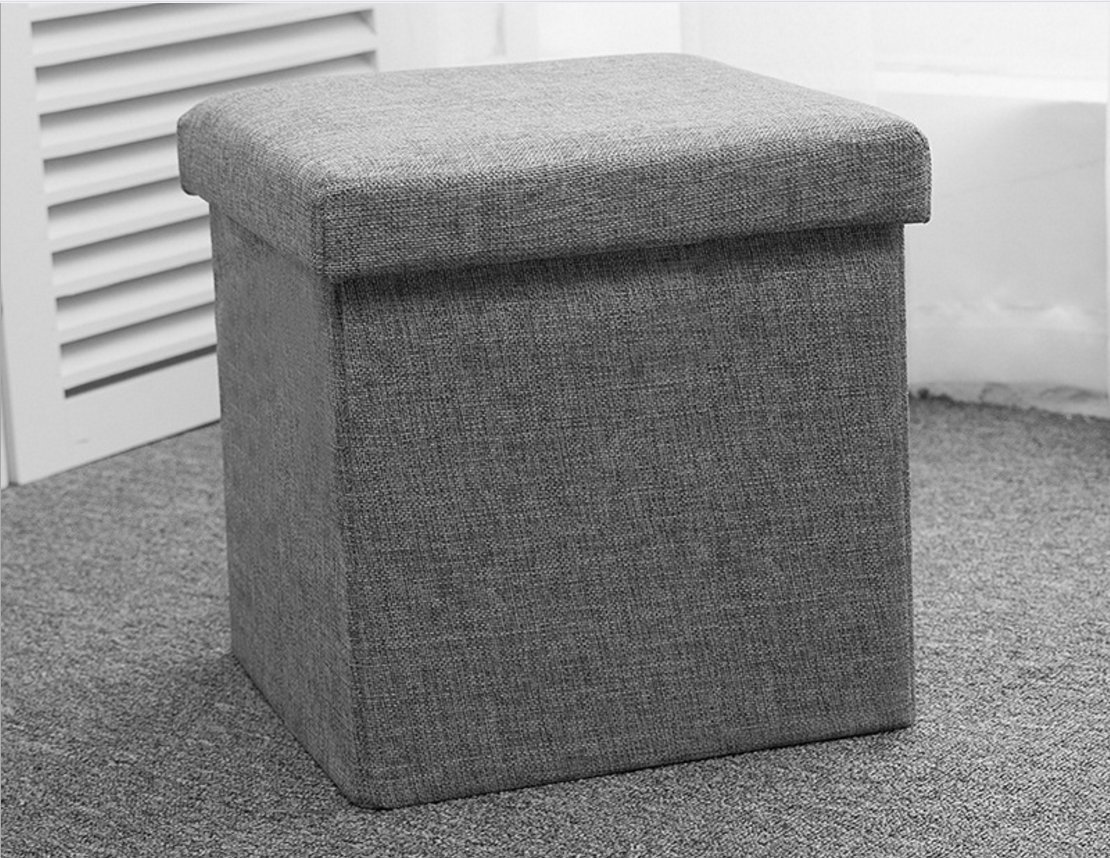 WUHAN YUNFEI TIANXIN YOUXIAN GONGSI Folding Storage Footstool Fabric With Lid Multifunctional Cube Box Footrest Seat Great for Kids' Toy,Clothes,Books (Grey) (30 * 30 * 30CM)