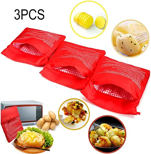 3 PCS Patata Microondas Bolsa Potato Express Pouch Lavable ...
