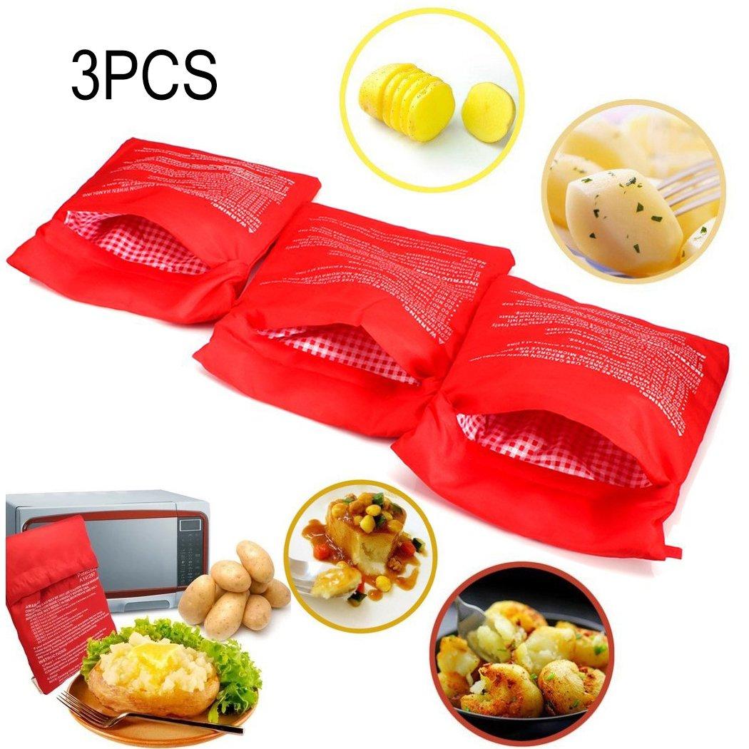 Rouge 3 PCS Pomme de terre Poche /à micro-ondes Pomme de terre Express Pouch Lavable R/éutilisable Microwave Potato Bag Pomme de Terre Sac Express Pommes de Terre Parfaites Seulement en 4 Minutes
