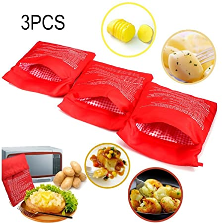 3 PCS Patata Microondas Bolsa Potato Express Pouch Lavable reutilizable Bolsa de patata de microondas Patata Express Bag Perfect Patatas Solo en 4 ...