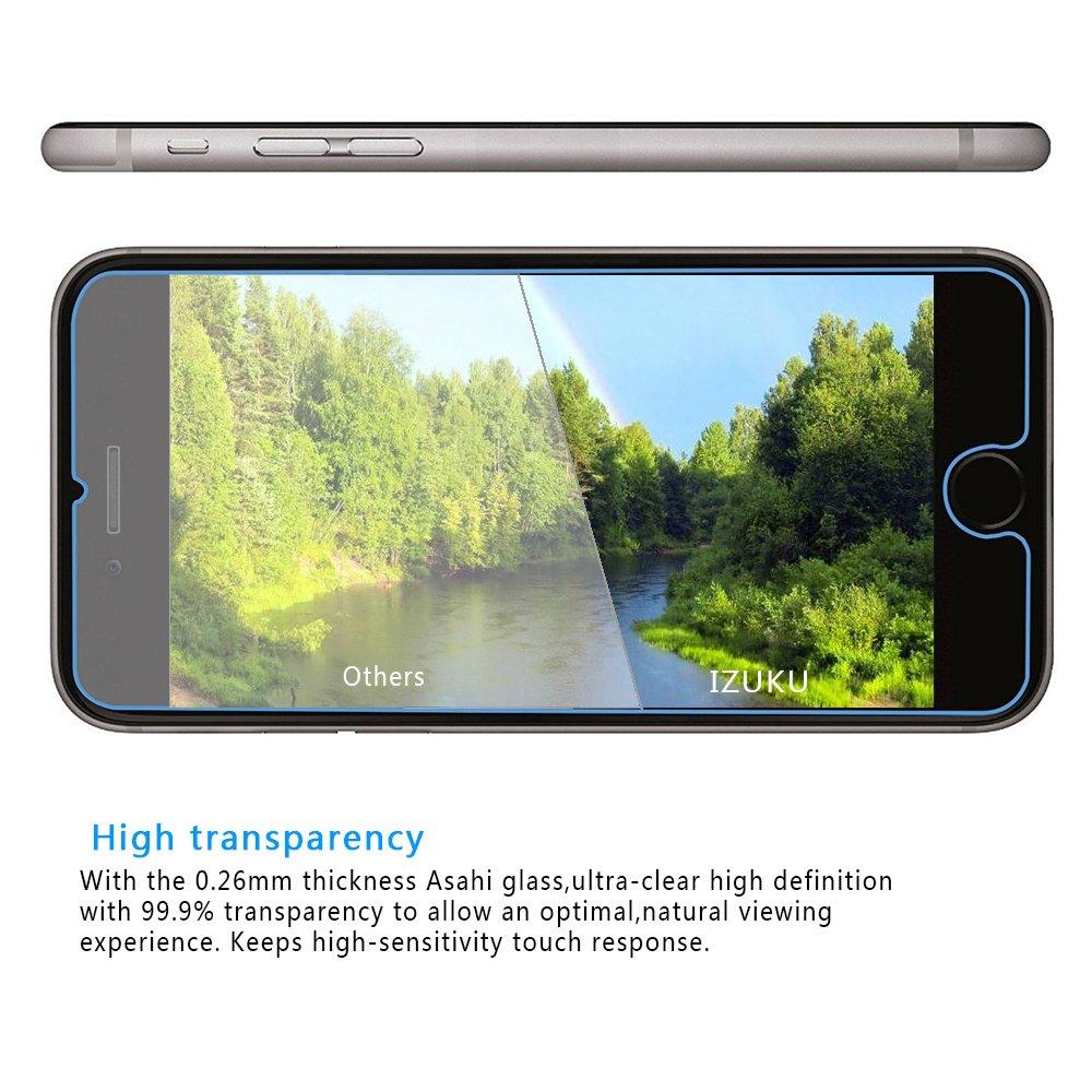 Protector de Pantalla Cristal Vidrio Templado Para iPhone 7 de IZUKU(2 PACKS)-- Fácil de instalar sin burbujas de aire Anti rayas con Ultra resistente 9H dureza compatible 3D táctil (0,26mm HD de alta definición) de cristal película del pro
