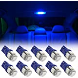 Partsam 10pcs Blue T10 194 168 W5W Interior Dome Map LED Lights Reading Lamp Bulbs