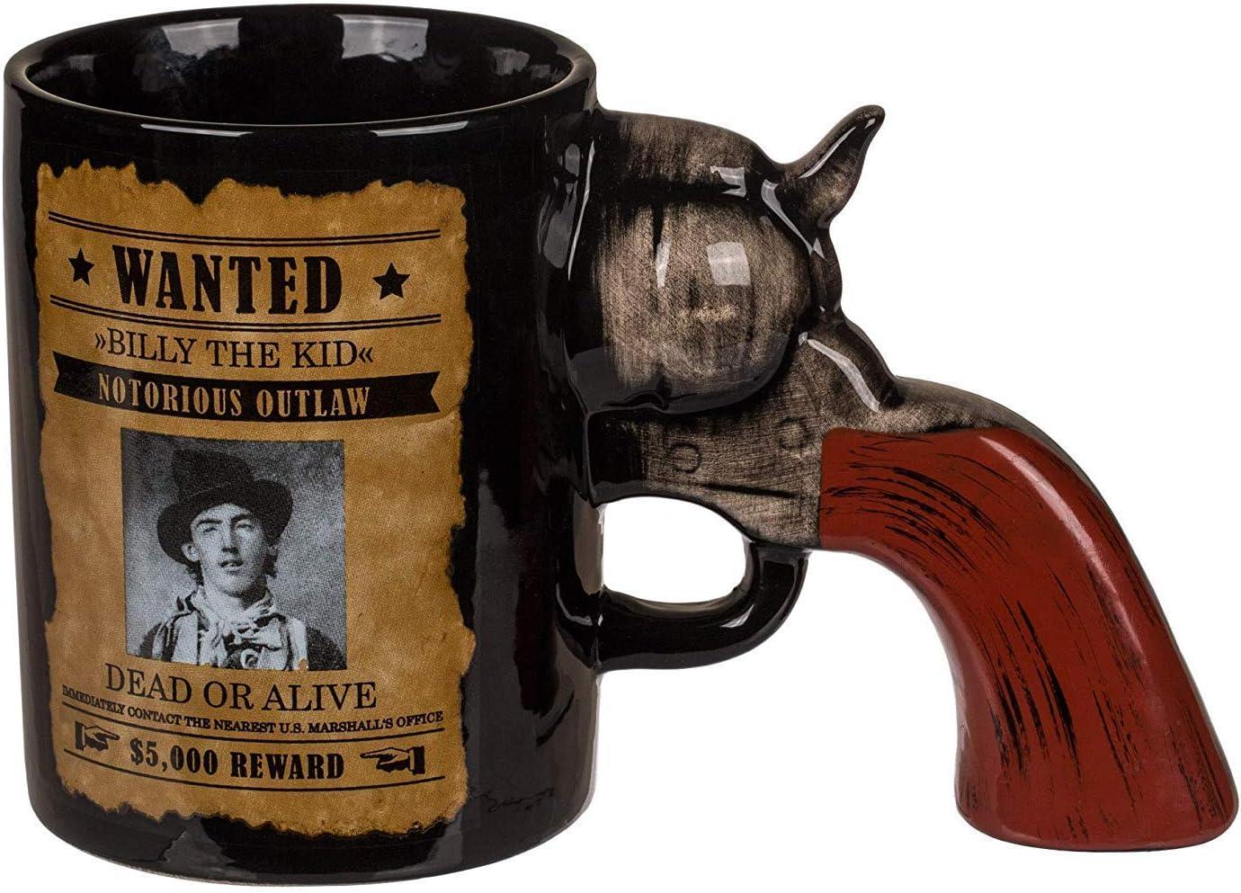 KOSxBO® - Taza de café con mango de revólver como asa, perfecta para los fans y armas, taza de té