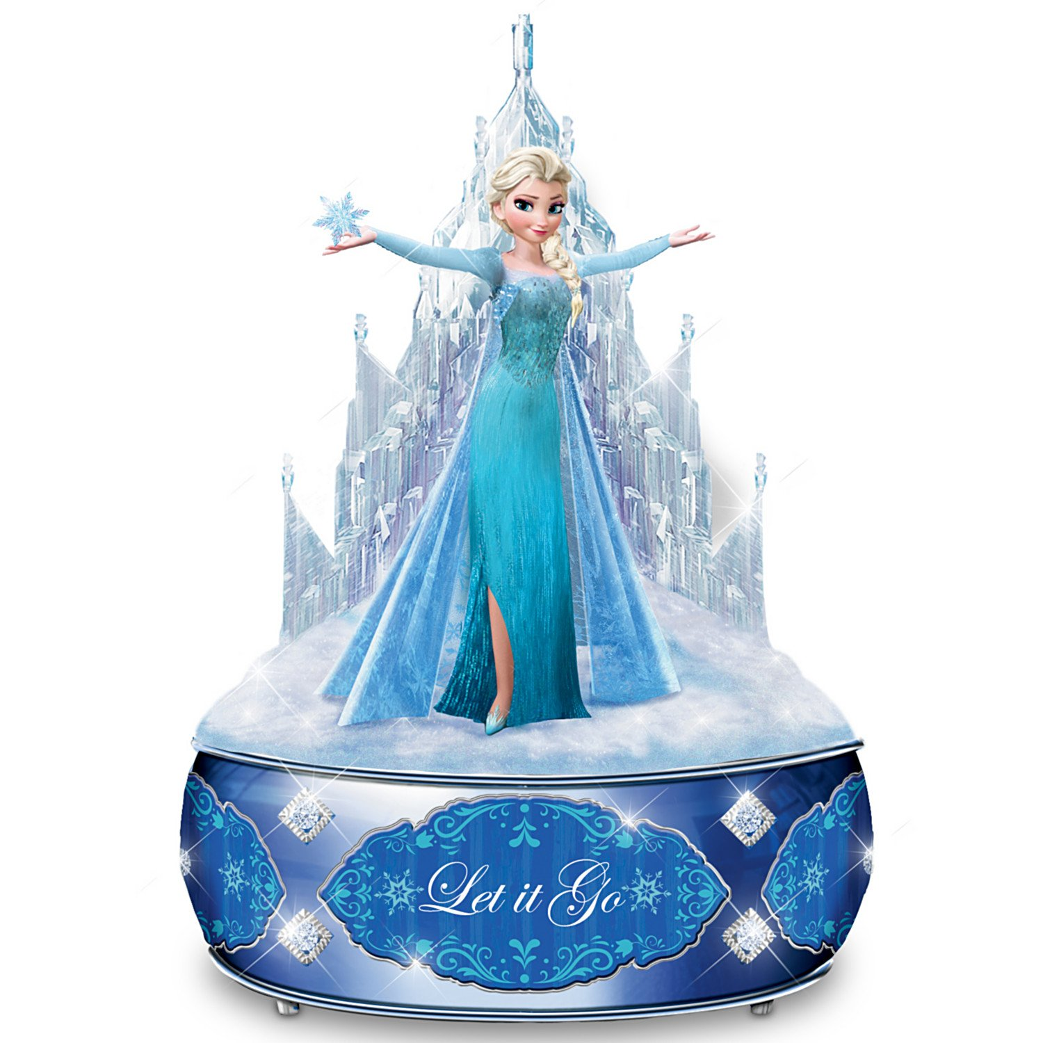 Disney FROZEN Let It Go Music Box With Elsa Sculpture And Crystalline Castle by The Bradford Exchange