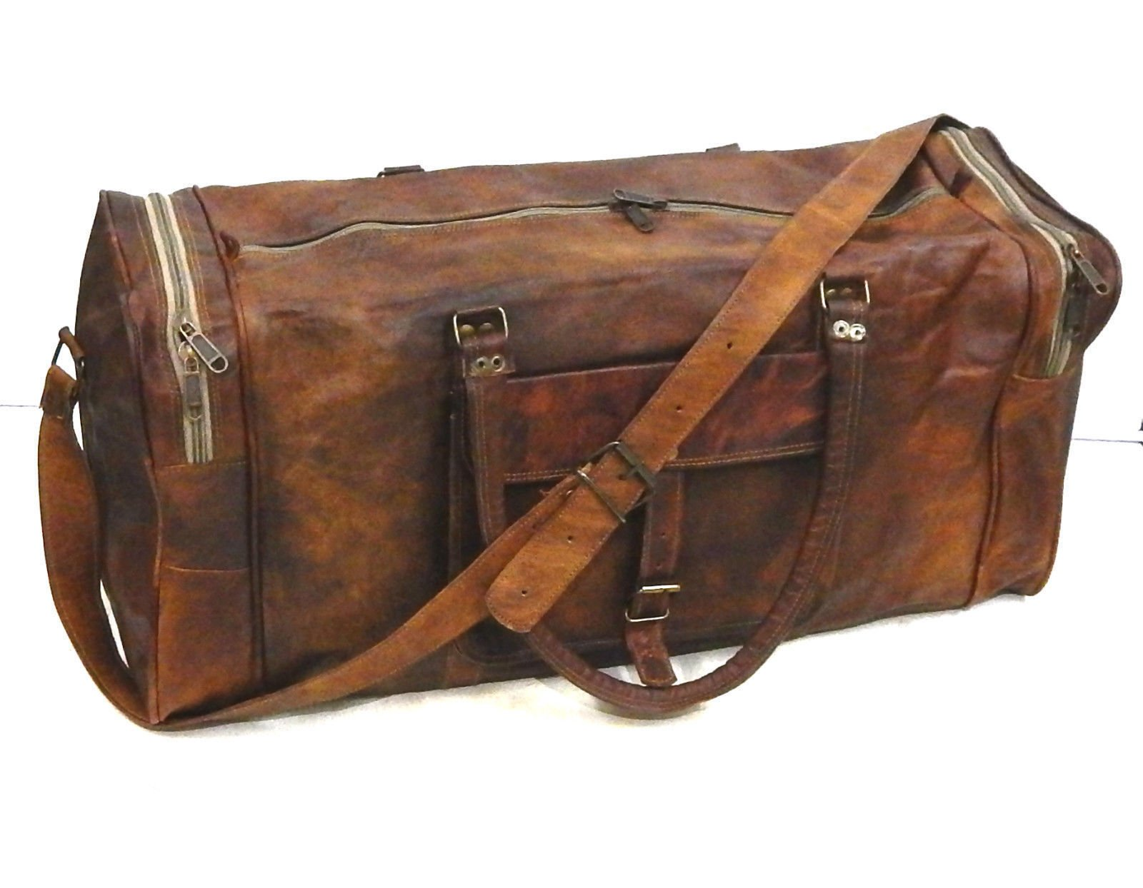 Firu-Handmade 24'' Vintage Style Leather Brown Duffel Gym Sports Luggage Bag Handmade by Firu-Handmade (Image #2)