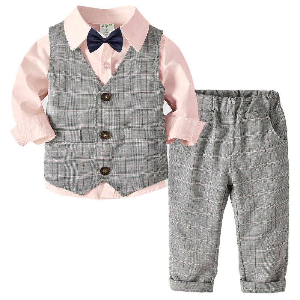 QitunC Beb/é Ni/ño Conjunto Gentleman Ropa Bowtie Camisa Chaleco Pantalones Traje de Bautizo Fiesta Boda Ceremonia