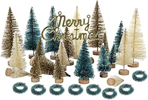 33 PCS Artificial Sisal Christmas Tree Mini Pine Tree with Wood Base and Wreath DIY Crafts Home Table Top Decor Christmas Ornaments Green Holiday Christmas Decorations