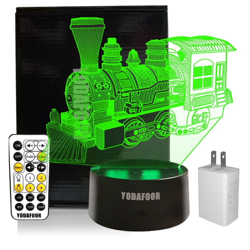 YODAFOOR Steam Train Night Lights for Kids Baby Teen 3D Illusion Lamp, Birthday Party Gift Anniversary Present, Multi Color Remote Lamp Room Bedside Table Desk Decor Nursery Lighting