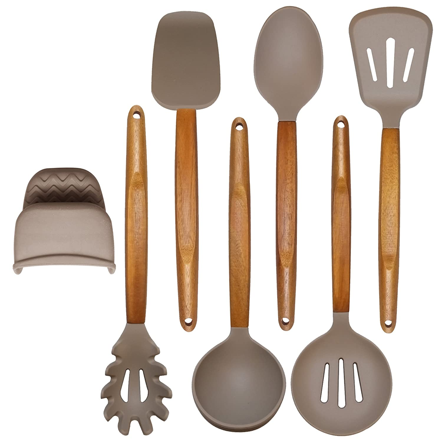Adtoprime Silicone Cooking Utensils Set Acacia Wooden Handle - Kitchen Utensil Tools Serving Spoons