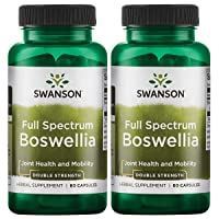 Swanson Boswellia Joint Mobility Respiratory Health Support Supplement Full Spectrum Double Strength 800 mg 60 Capsules (2 Pack)