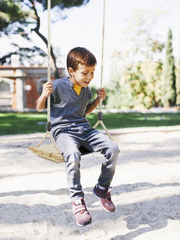 Appesa Legno Massello Struttura Panca per Ragazzo e Bimba PELLOR Altalena Legno da Giardino per Bambini Piccoli da Interno e Externo Ganci Altalena in Lega Zincata Antiruggine