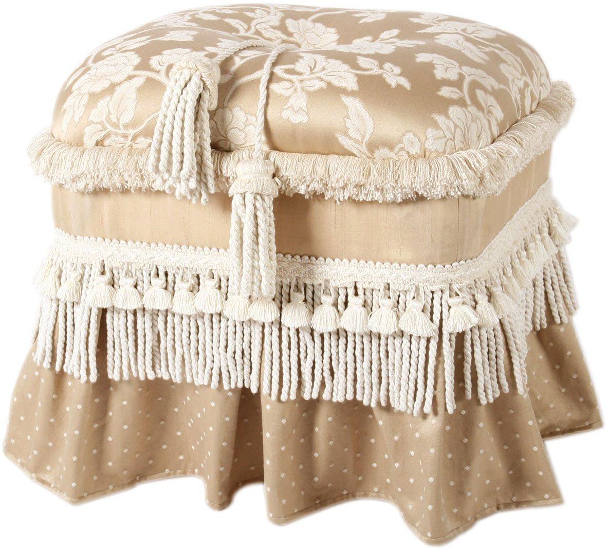 Jennifer Taylor Home Cassandra Brush Fringe And Trim Tassels With Skirt Ottoman, 19 x 18 x 15 , Beige