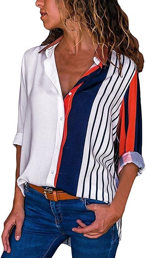 🌻MINXINWY Camisetas Tops Mujer Fiesta, Camiseta Verano Playa y Fiesta Camisa de Trabajo Camisa Manga Larga Camisa Mujer Raya de Color Shirt Casual Suelto Blusa: Amazon.es: Deportes y aire libre