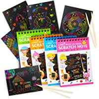 aGreatLife Scratch Paper Rainbow Art Notebooks: Best Drawing Supplies - Best Drawing Paper For Kids with 4 Colorful Mini Notebooks and 4 Wooden Styluses