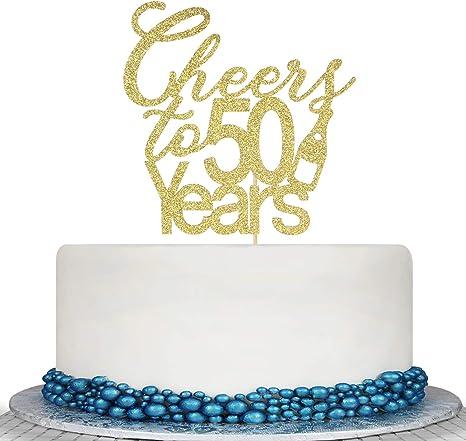 Amazon.com: Decoración para tarta de 50 años con purpurina ...
