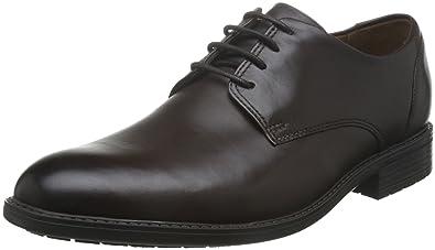 Clarks Truxton Plain Leather Men's Business Shoes Dark Brown, Pointure:EUR 44.5