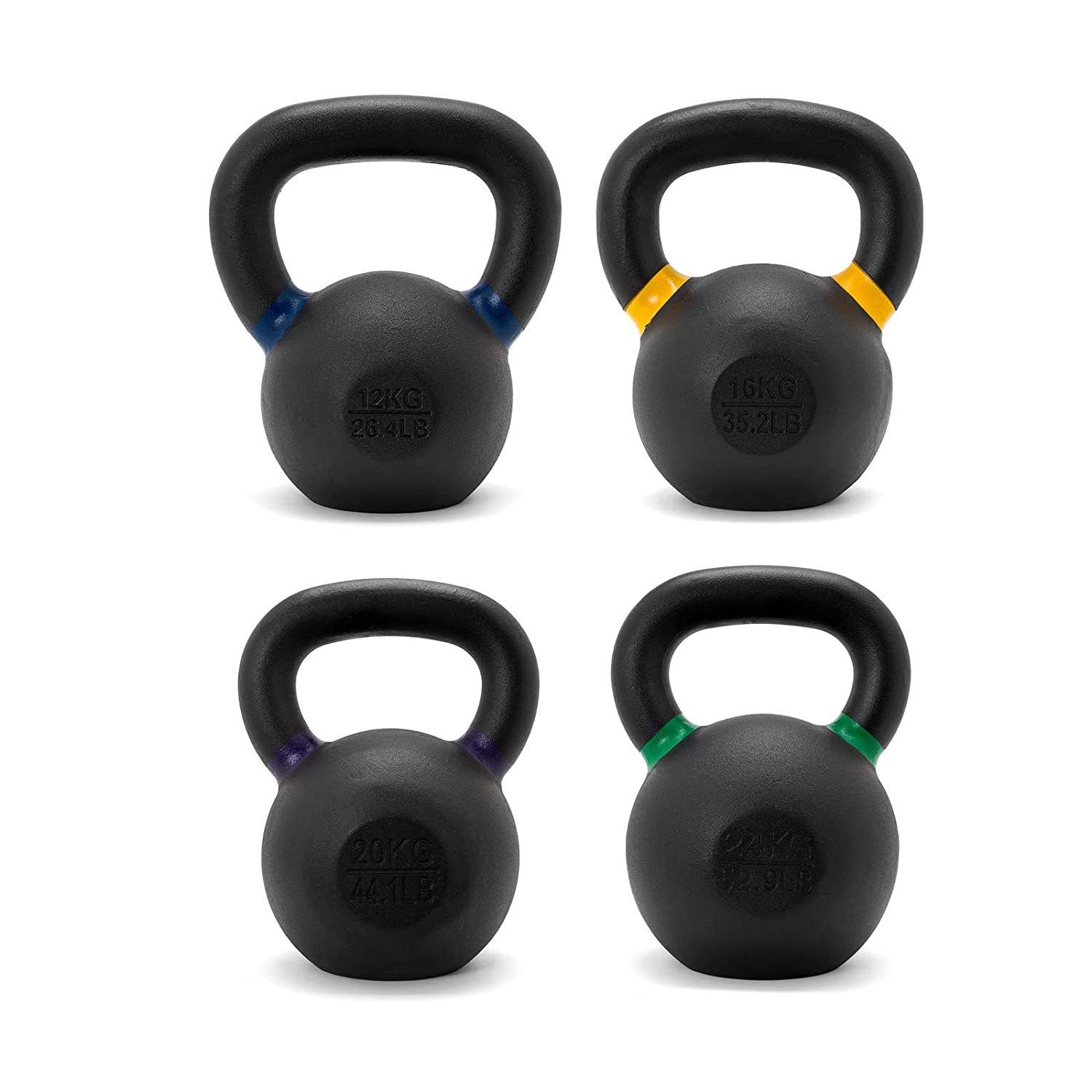 Solid Cast Iron Kettlebellセット12 / 16 / 20 / 24kg forクロスフィット、強度、Conditioningトレーニング