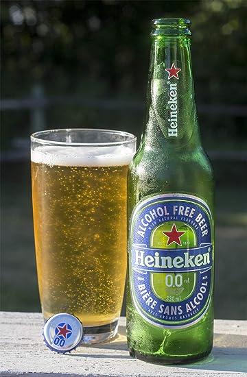 Heineken 0.0% Cerveza no alcohólica (sin alcohol), 11.2 fl ...