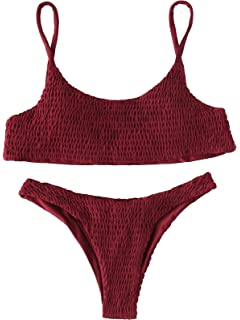 b400c8f107 SweatyRocks Women's Sexy Bathing Suit Solid Color Halter Shirred Bikini  Swimsuit