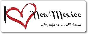 I Love (Heart) New Mexico, It's Where I Call Home Car Magnet US State Flag Refrigerator Locker SUV Heavy Duty Waterproof