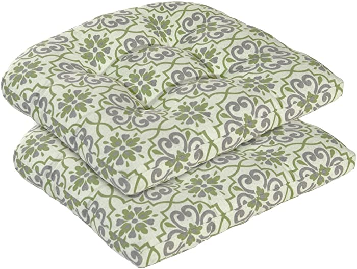 Bossima Indoor/Outdoor Wicker Seat Cushion, set of 2,Spring/Summer Seasonal Replacement Cushions (GREEN/GREY DAMASK)