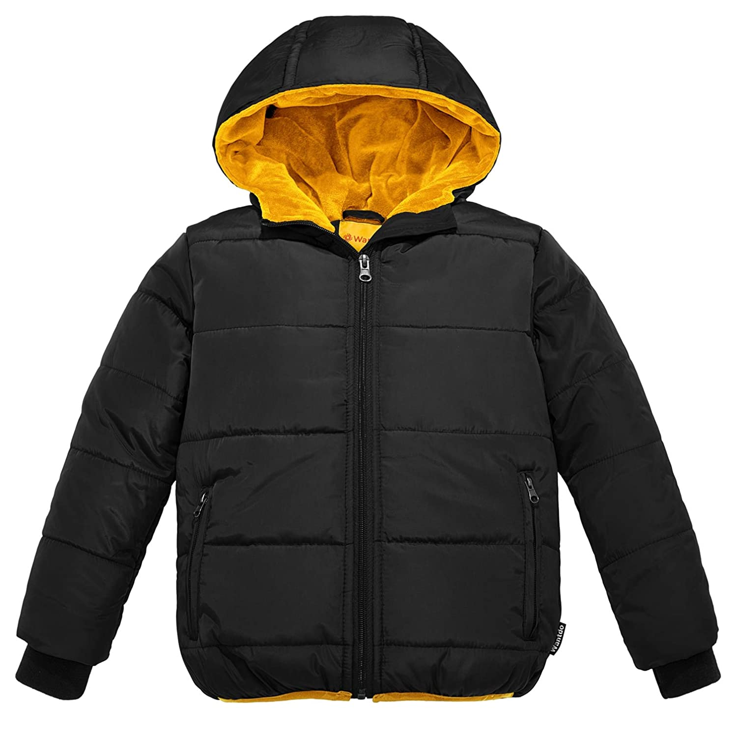 Wantdo Boy's Windproof Padded Winter Coat Hooded Puffer Jacket Outwear