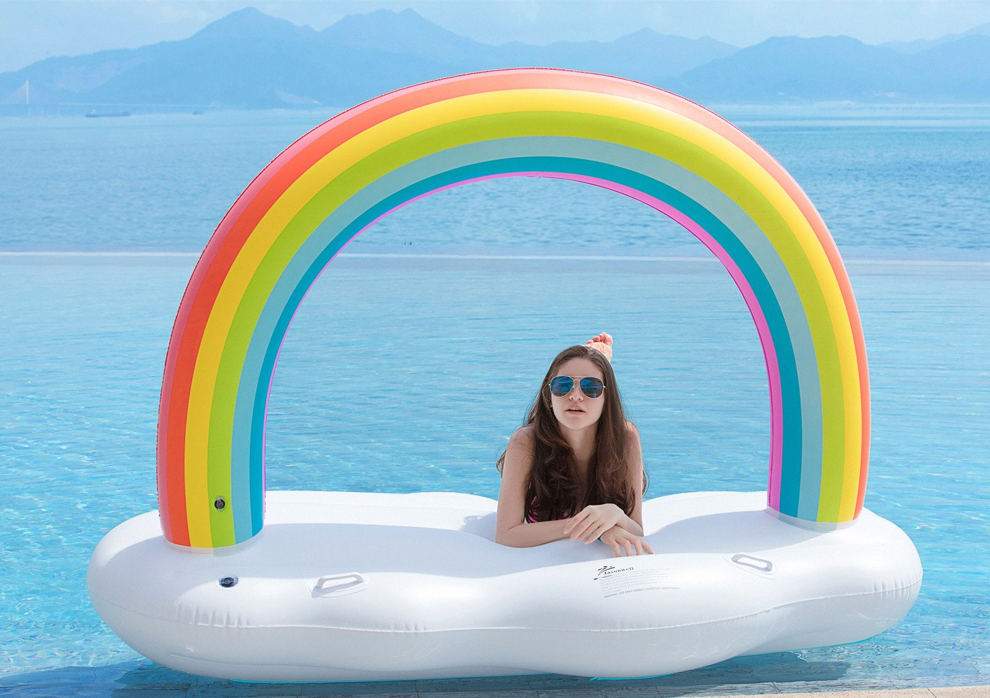 Inflatable Rainbow Cloud Pool Float with Rapid Valves