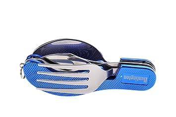 Huntington, set de cubiertos de 4 piezas de metral (tenedor, cuchillo, cuchara, abrebotellas) de color azul, K544-02 DE: Amazon.es: Deportes y aire libre