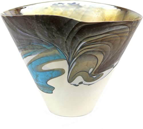 Murano Glass Filigrana Turquoise Vase