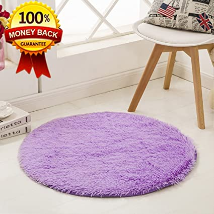 Attrayant SANMU Soft Round Rug,Fluffy Silky Carpet Fashion Color Smooth Bedroom Mats  Round Shag Floor