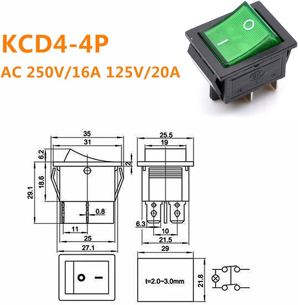 Willwin 10pcs KCD4 DPST 4Pin On-Off Red Light Panel Rocker Switch 16A//250V 20A//125V