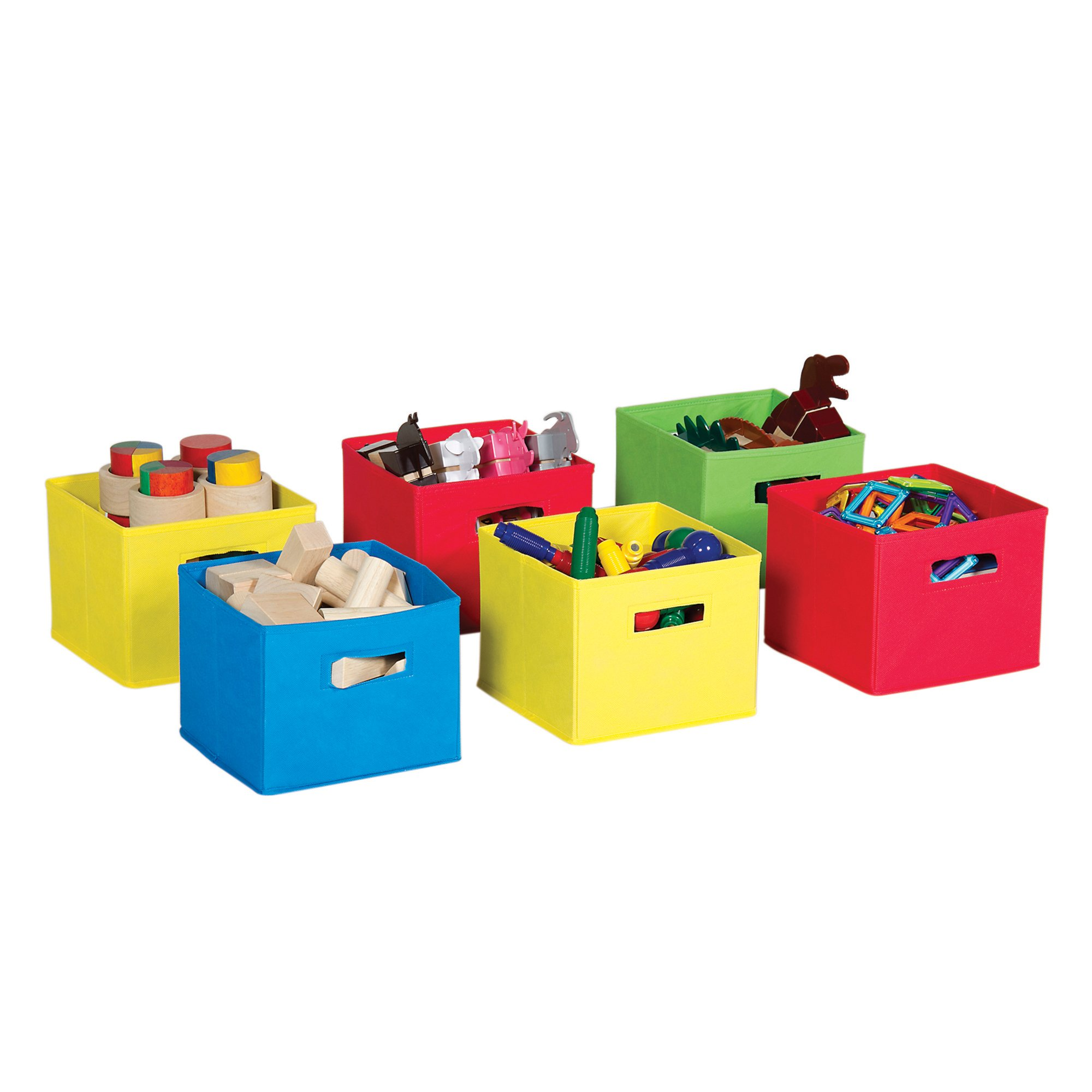 Guidecraft Multi-Color Fabric Bins: Set Of 6, Primary Colored Foldable Cloth Classroom Storage, Kid's Toy & Books Cube Organizers