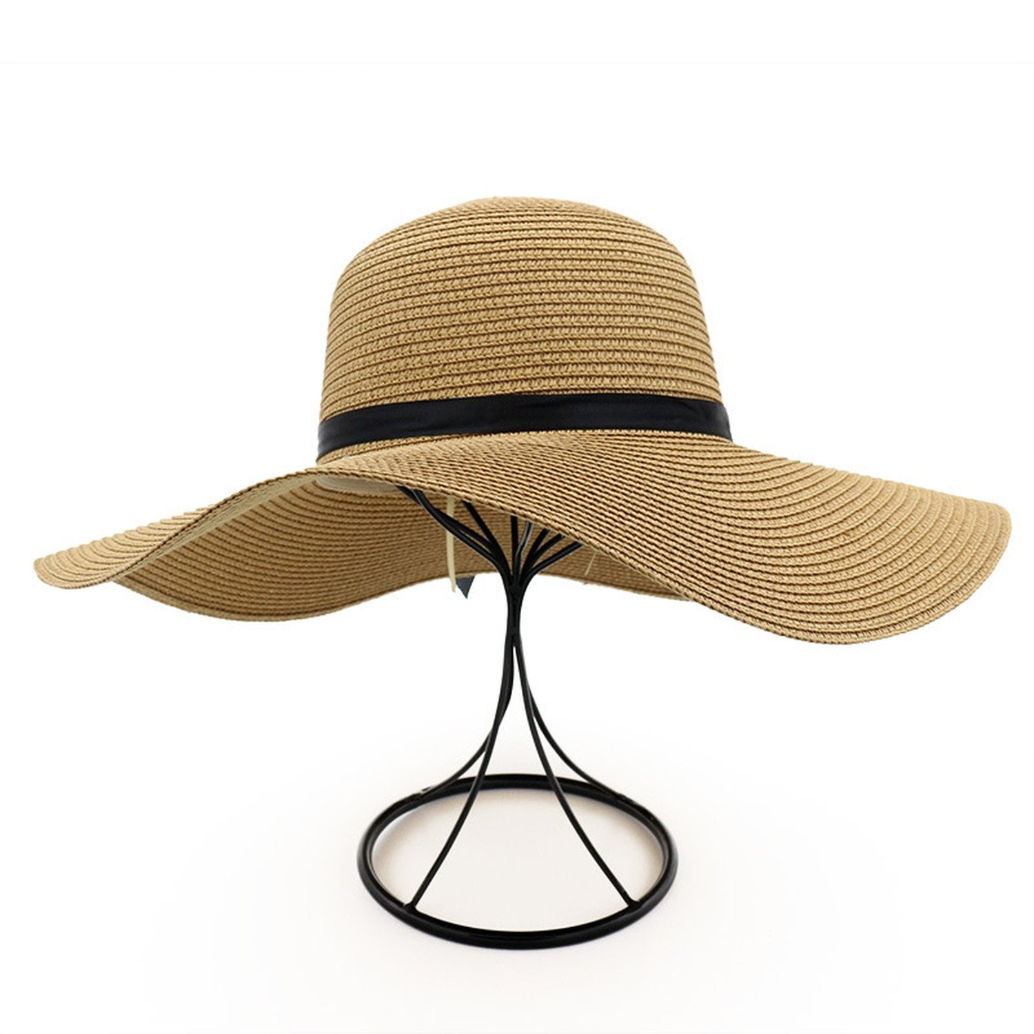 Spring and summer new hat female straw hat seaside holiday beach sun hat big hat bow bow sun hat,Khaki,adjustable by Spring Moon party-hats (Image #3)