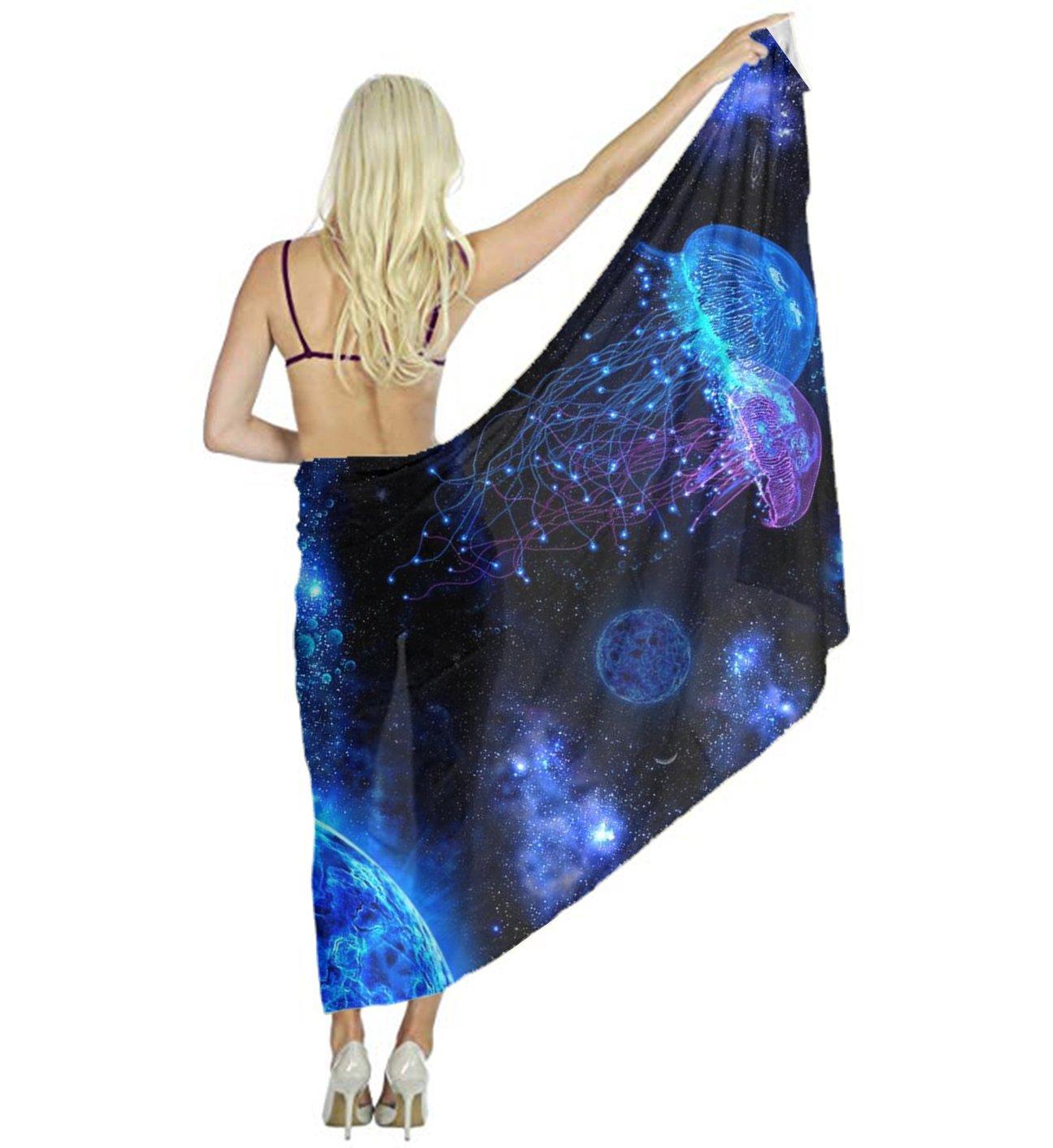 Lightweight Party Scarf, Fashion Cosmic Galaxy Under Sea Ocean Jellyfish Shawl Wraps for Women Girls