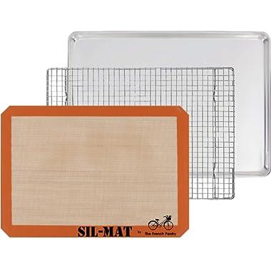 The French Pantry 3 Piece Baking Gift Set - Aluminum Sheet Pan, SIL-MAT Silicone Baking Mat & Stainless Steel Cooling Rack